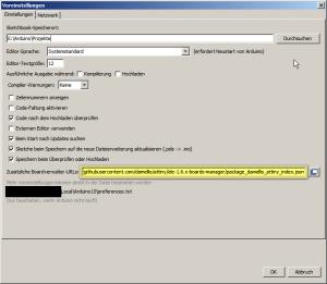 Eintragen der URL, wo die Konfigurationsdateien für die ATtiny-Prozessoren liegen